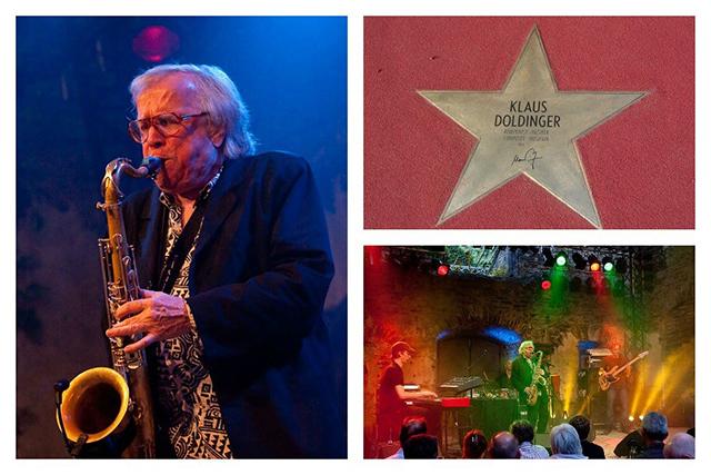 Klaus Doldinger komponiert nicht nur Filmmusik, sondern steht auch immer wieder selber auf der Bühne – wie hier beim Jazz-Festival Dernau im Jahr 2009.Bilder von links nach rechts im Uhrzeigesinn: ©Stephan Wirwalski/Wikimedia Commons, © By Times, /Wikimedia Commons, ©Stephan Wirwalski/Wikimedia Commons.