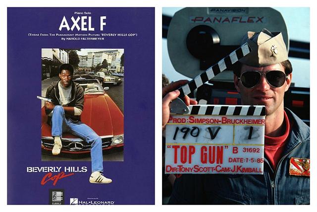 "Bild links: ""Axel F"", der Titelsong zum Film ""Beverly Hills Cops"", Bild rechts: Der Soundtrack zum Film ""Top Gun"" stammt von Harold Faltermeyer (© PH2 Michael D.P. Flynn, U.S. Navy/Wikimedia Commons)"