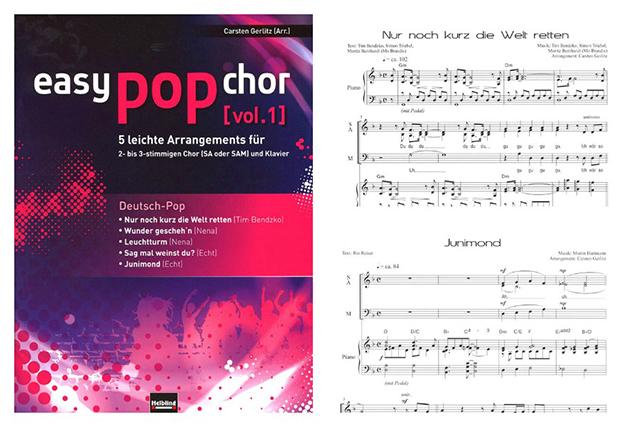 Deutsche Popsongs von Nena, Echt und Tim Bendzko: auch für Anfänger leicht nachzusingen.