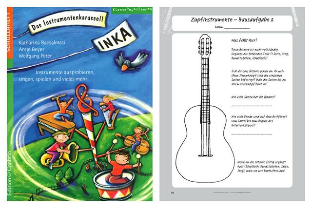 Wie sieht eine Trompete aus und wieviel Saiten hat eine Geige? Musikschüler können ihr Wissen im Instrumentenkarussell testen.