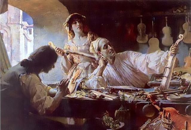 So stellte dich der Maler Edgar Bundy im Jahr 1893 den Geigenbauer bei der Arbeit vor.