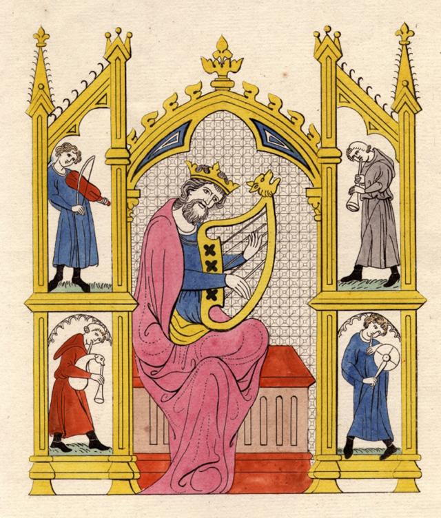 Historische Darstellungen zeigen König David gern beim Harfenspiel.