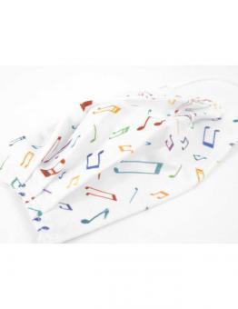Gesichtsmaske mit Musik - Design 19: Noten weiß/bunt