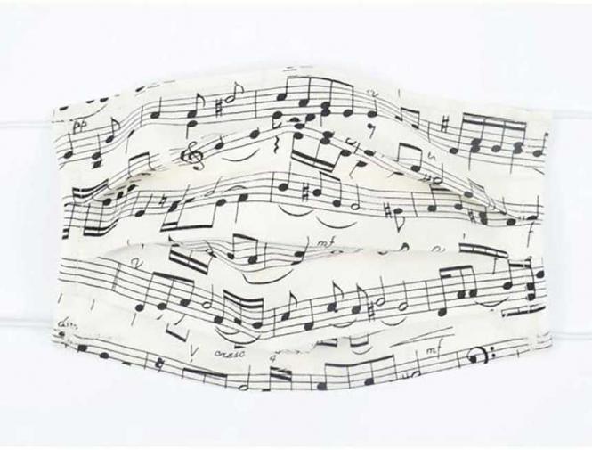 Gesichtsmaske mit Musik - Design 12: Notenzeilen
