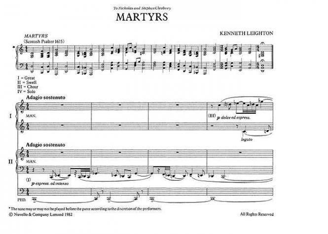 Martyrs Organ Duet Op. 73